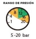 Rango de presión 5-20 bar